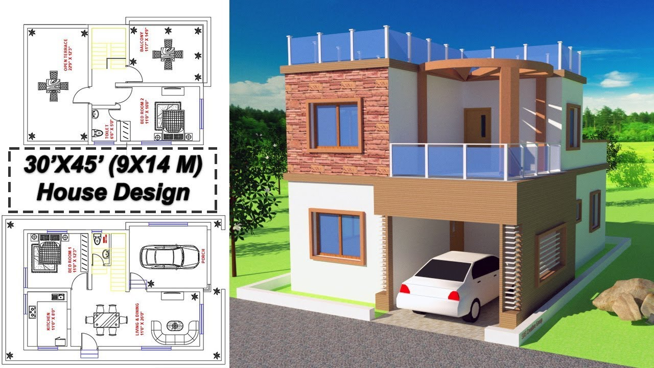 Home Design Plan 2bhk 30x45 Feet 9x14m House Design With 2 Bedrooms P1 Youtube