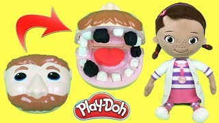 Play Doh Doctora juguetes y dentista bromista jose visita hospital doc  mcstuffins.Video español