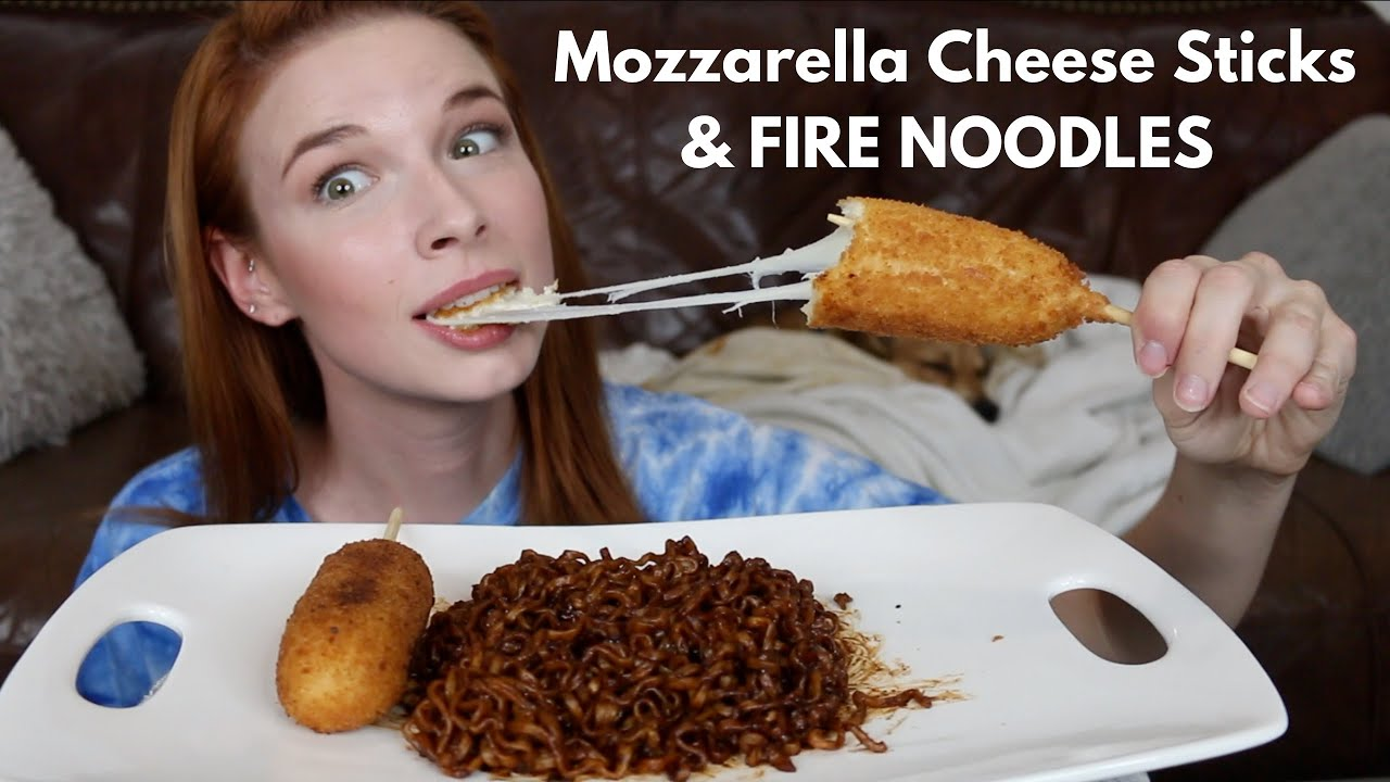 ASMR Black Bean Fire Noodles & Mozzarella Cheese Sticks MUKBANG (No Talking)