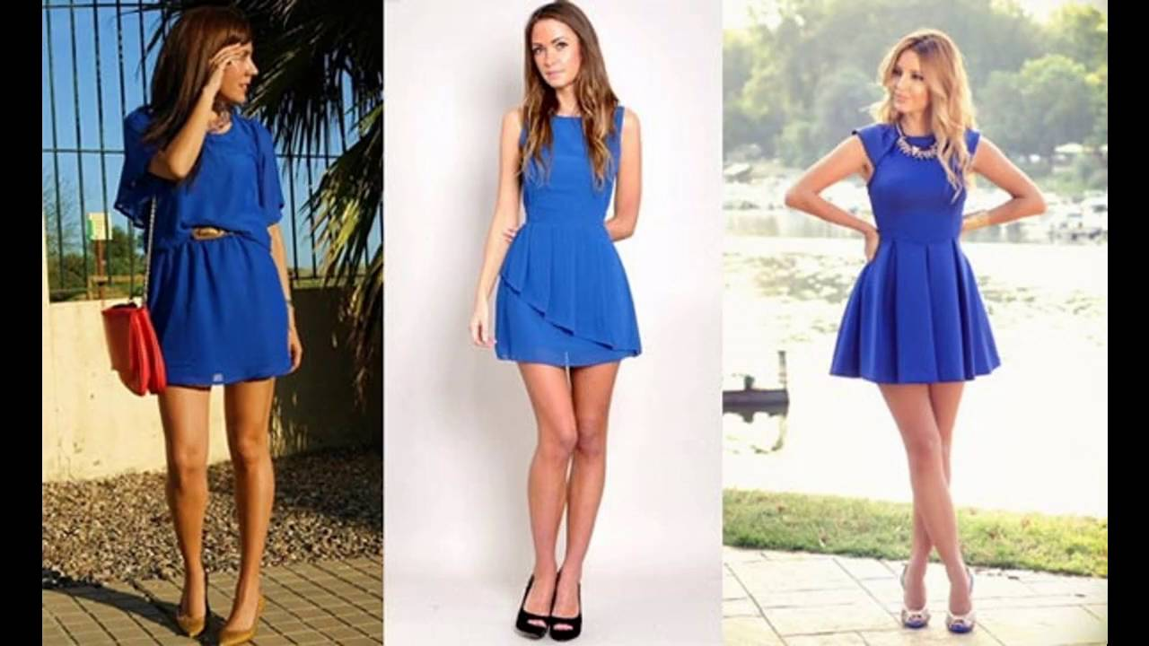 Vestidos casuales color azul rey