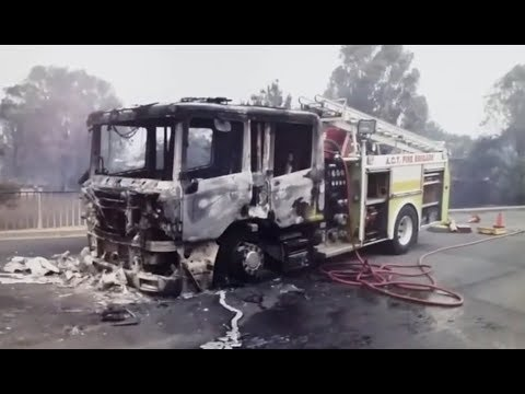 "Photos of ACTFB ""Bravo 3"" fire truck destroyed in the 2003 Canberra Firestorm"