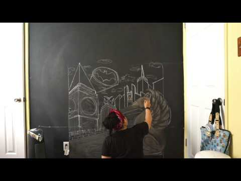 Time-Lapse Drawing - Gotham City on Chalkboard Wall