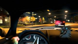 Watch Dogs - Aiden Pierce Drives Exotic Car Around Chicago (Inside Car View) HD Gameplay PS4