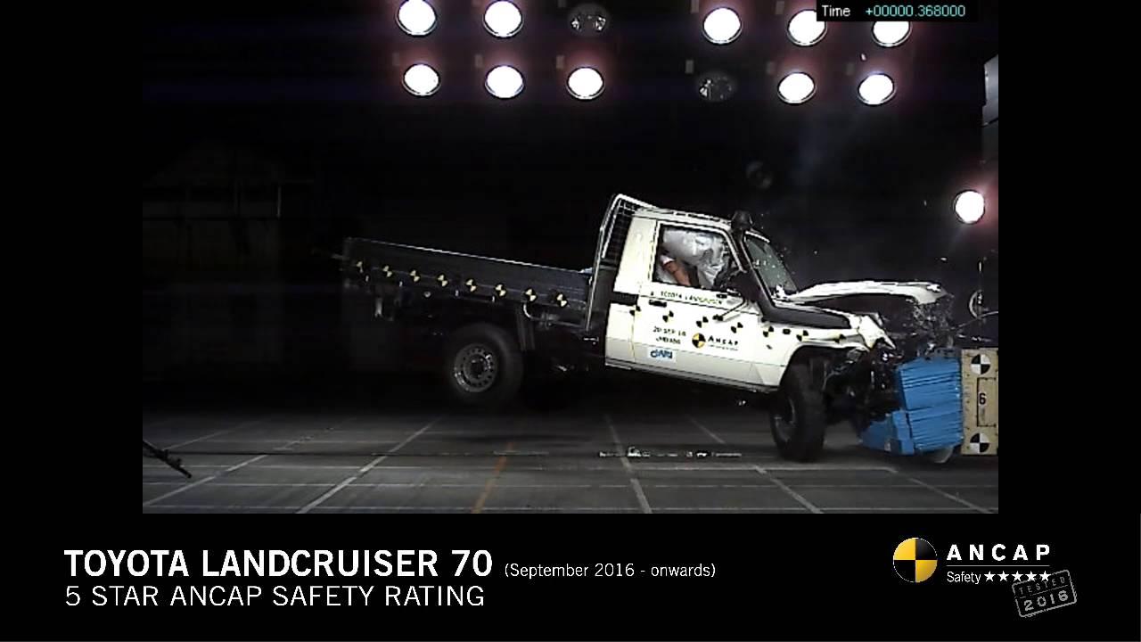 Ancap crash test toyota landcruiser 70 single cab chassis sept 16 onwards frontal offset test
