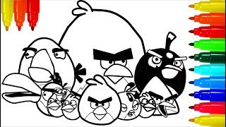 ANGRY BIRDS Dinosaurs Coloring Pages | Colouring Pages for Kids with Colored Markers