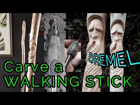 Carve A Walking Stick 2019, Wood Spirit Walking Stick Carved With Dremel Flex Shaft And Kutzall,