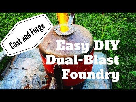 Easy DUAL-BLAST Coke Foundry Furnace from Scrap [DIY]