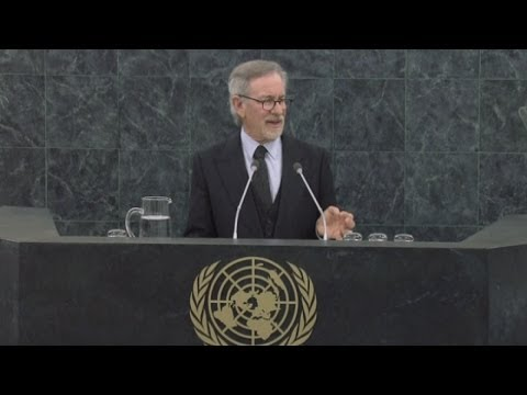 Director Steven Spielberg talks at UN Holocaust Remembrance Day