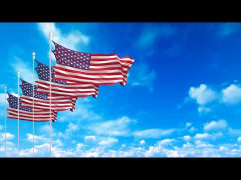 Free 4K Stock Footage -USA American Flags Waving On The Dark Blue Sky 4K Video  Loop