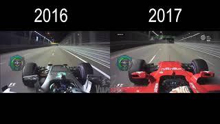 [HD] F1 2016 vs 2017 Onboard comparison Rosberg vs Vettel in Singapore