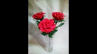 розы из бисера. beaded roses