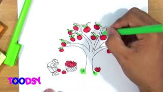 How to Color Farmer Collecting Apple Under An Apple Tree Coloring Page