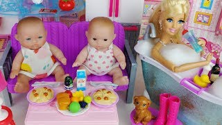 Baby doll barbie house Kitchen cooking and bath toys play baby sitter 바비 하우스 주방놀이 목욕놀이 아기인형 장난감