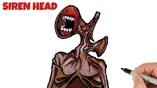 How to Draw Siren Head Monster Easy   Trevor Henderson Characters