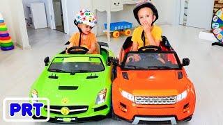 Vlad e Nikita montam em brinquedos Carros Diversão em Família Playtime