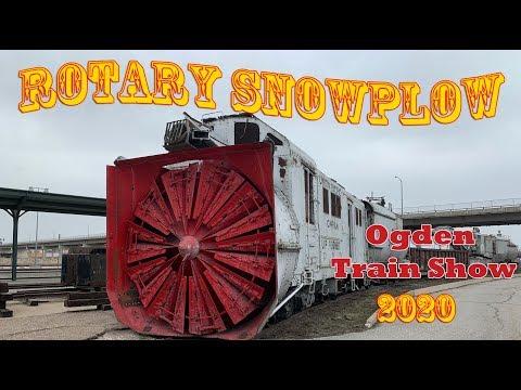 Big Railroad Equipment Rotary Snowplow And Wrecking Crane - Ogden Train Show 2020