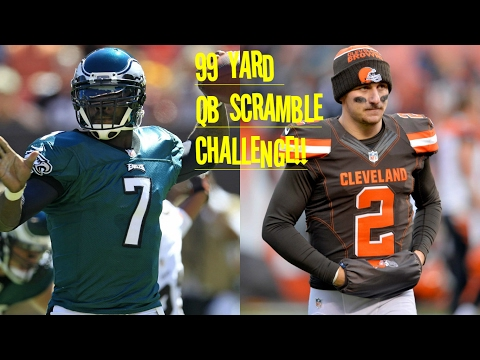 WHO CAN GET A 99YD QB SCRAMBLE FIRST?!? MICHAEL VICK VS JOHNNY MANZIEL!! HUMAN CHEAT CODE!!!