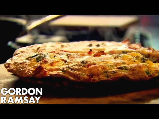 Bacon, pea and goat cheese frittata by Gordon Ramsay