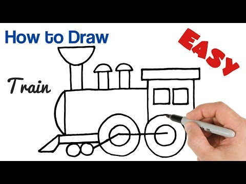 How to Draw a Train Steam Locomotive easy for kids