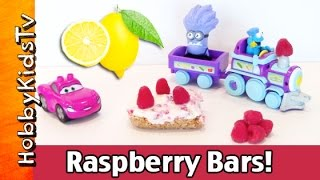 Hobbyfood: Raspberry Lemon Creme Bars! Lightning Mcqueen + Cookie Monster + Bad Minion Hobbykids