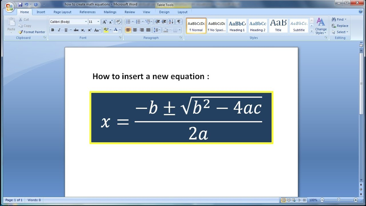 Microsoft word tutorial |How to create math equations in Word (1 ...