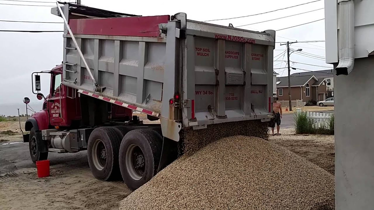 20 Tons Of Stone Delivered By Dump Truck Youtube
