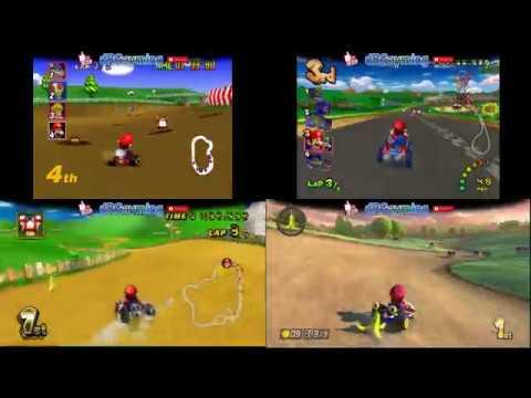 Mario Kart N64 vs GC vs WII vs WIIU Gameplay