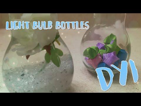 ♥DIY 2 Cute Light Bulb Glass Bottles! Easy To Try!♥