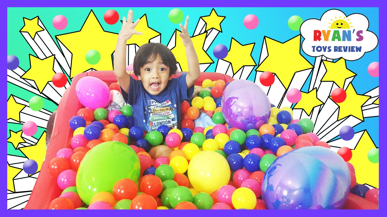 Huge Eggs Surprise Toys Challenge In Giant Ball Pit Youtube