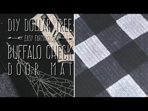 DIY Dollar Tree Easy Farmhouse Buffalo Check Door Mat