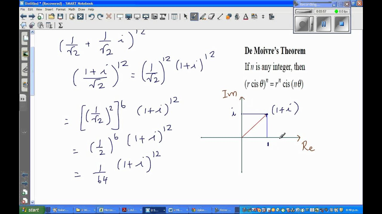 calculating the exact value of a complex number using de moivre 39 s theorem youtube. Black Bedroom Furniture Sets. Home Design Ideas