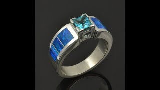 Blue Topaz and Lab Opal Ring CS028