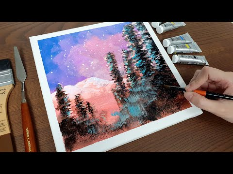 #stayhome and Paint #withme / Beautiful Star Landscape / Acrylic Art / Simple Painting [4K]