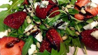 Салат с рукколой, клубникой и голубым сыром  Пошаговый рецепт