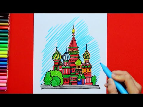 How to draw and color Saint Basil's Cathedral, Moscow