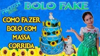 Meu bolo de Aniversário da Frozen Fever feito com massa corrida