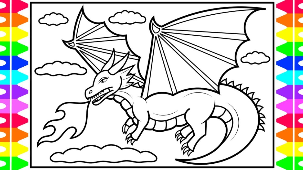 How To Draw A Dragon For Kids Dragon Coloring Pages For Kids Youtube