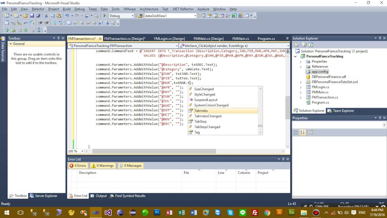 c local database personal finance tracking create transaction
