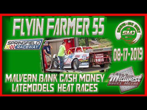 S03 E405 Cash Money Late models Heat Races Flyin Farmer 55 Springfield Raceway 08-17-2019