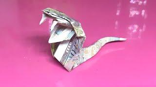 Cách gấp 1 con RẮN HỔ MANG bằng tiền giấy / Origami money snake