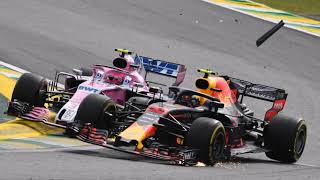 Max Verstappen and Esteban Ocon team radio after crashing in the race - F1 2018 Brazil