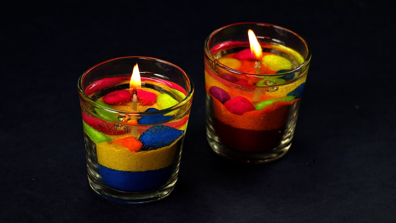 Diy Colorful Gel Candles Making Diwali Decoration Ideas Youtube