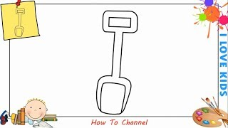 How to draw a shovel EASY step by step for kids, beginners, children 1