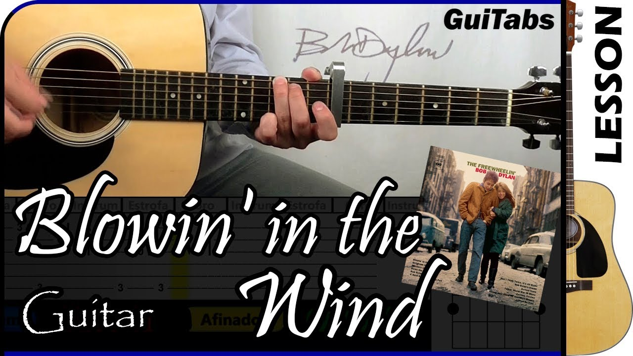 How To Play Blowin In The Wind Bob Dylan Guitar Tutorial Youtube