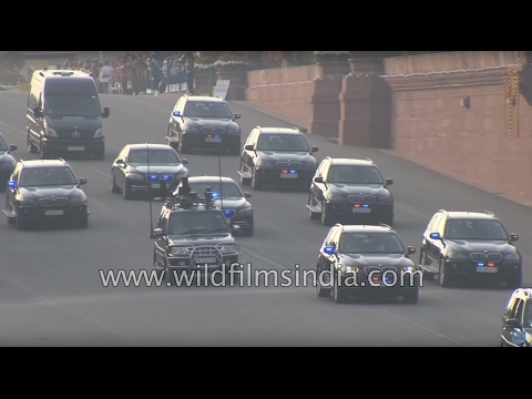 BMW Mercedes convoy of PM Narendra Modi at Vijay Chowk