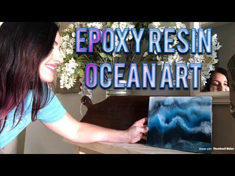 Epoxy Resin Ocean Art Diy first pour