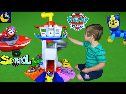 My Size Lookout Tower Paw Patrol Toys and Sea Patrol Marshall Chase Skye Vehicle New 2017 Toys Video