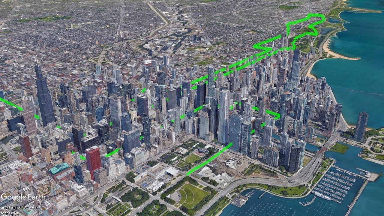chicago marathon 2017 - course preview in google earth vr