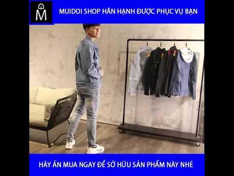 Áo Khoác Jeans Nam Xanh Chữ Thập đen A292 MuiDoi | áo Khoác | áo Khoác Jeans