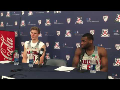 Lauri Markkanen and Kadeem Allen after Arizona beats Chico State 78-70